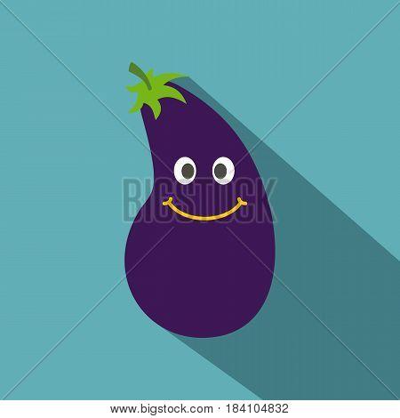 Cute smiling eggplant icon. Flat illustration of cute smiling eggplant vector icon for web on baby blue background
