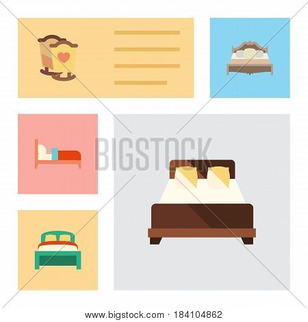 Flat  Set Of Bedroom, Crib, Bearings And Other Vector Objects. Also Includes Bearings, Bed, Double Elements.