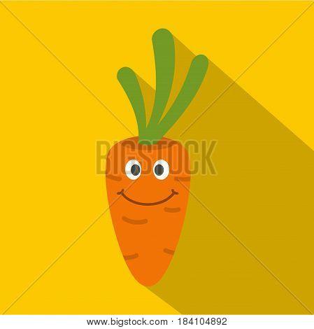 Fresh smiling carrot icon. Flat illustration of fresh smiling carrot vector icon for web on yellow background
