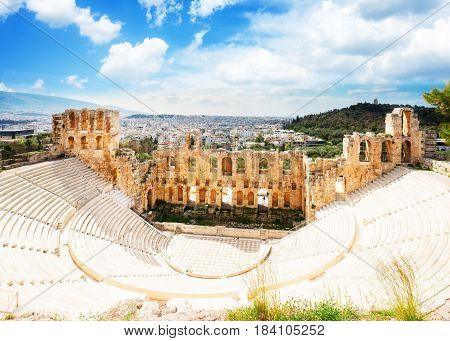 Herodes Atticus amphitheater of Acropolis, Athens, Greecer, retro toned