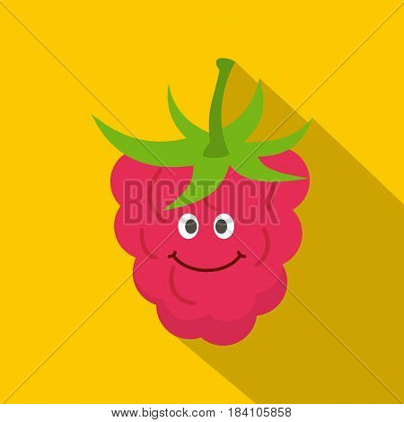 Ripe fresh smiling raspberry icon. Flat illustration of ripe fresh smiling raspberry vector icon for web on yellow background