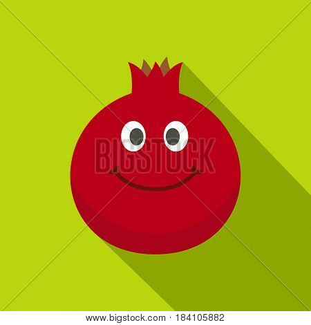 Ripe smiling pomegranate fruit icon. Flat illustration of ripe smiling pomegranate fruit vector icon for web on lime background