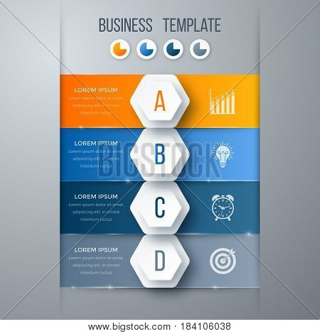 Infographics template four options with hexagon. Can be used for workflow layout, diagram, number options, step up options, web design, presentations