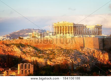 Famous skyline of Athens with Acropolis hill and Pathenon, Athens Greecer, retro toned