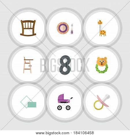 Flat Child Set Of Nipple, Child Chair, Rattle And Other Vector Objects. Also Includes Dish, Cot, Child Elements.