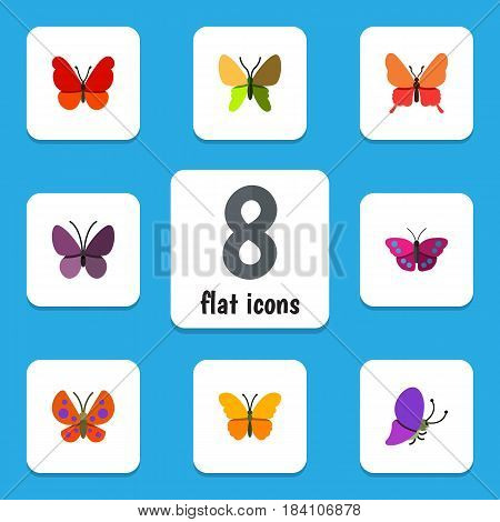 Flat Monarch Set Of Butterfly, Monarch, Beauty Fly And Other Vector Objects. Also Includes Insect, Archippus, Moth Elements.