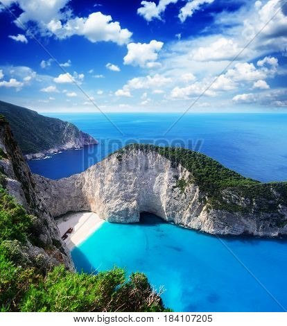 Navagio beach, famous lanscape of Zakinthos island, Greecer, retro toned