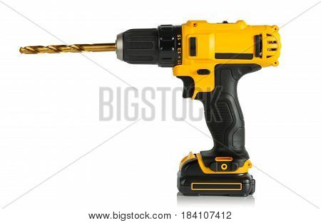 modern convenient a cordless drill on a white background