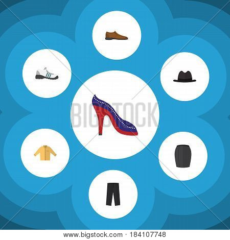 Flat Clothes Set Of Male Footware, Banyan, Panama And Other Vector Objects. Also Includes Gumshoes, Man, Hat Elements.