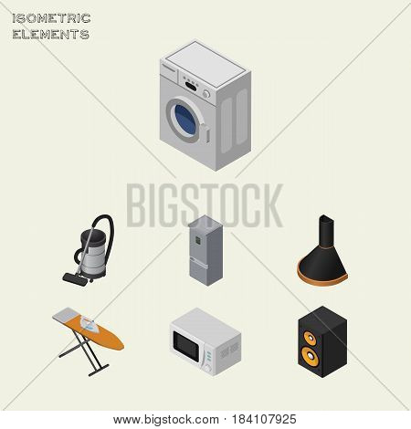 Isometric Technology Set Of Kitchen Fridge, Air Extractor, Music Box And Other Vector Objects. Also Includes Extractor, Vacuum, Machine Elements.