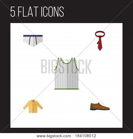 Flat Garment Set Of Underclothes, Banyan, Singlet And Other Vector Objects. Also Includes Tank, Briefs, Tie Elements.