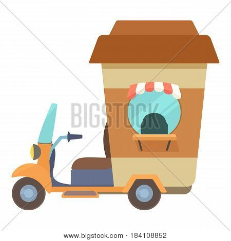 Fast food trolley motorbike with big coffee cup icon. Cartoon illustration of fast food trolley motorbike with big coffee cup vector icon for web