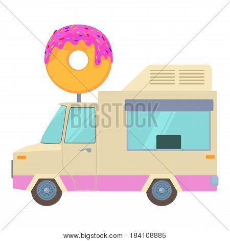Fast food trailer with donut icon. Cartoon illustration of fast food trailer with donut vector icon for web