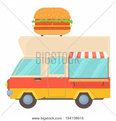 Fast food trailer with burger icon. Cartoon illustration of fast food trailer with burger vector icon for web
