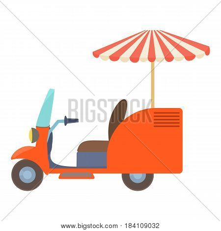 Fast food trolley motorbike icon. Cartoon illustration of fast food trolley motorbike vector icon for web