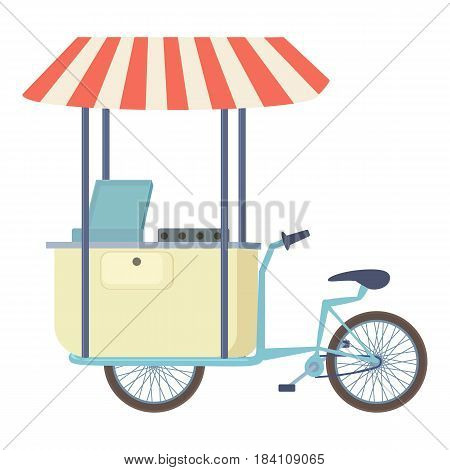 Food cart vending bicycle icon. Cartoon illustration of food cart vending bicycle vector icon for web