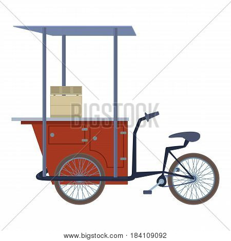 Tricycle trade cart icon. Cartoon illustration of ticycle trade cart. vector icon for web
