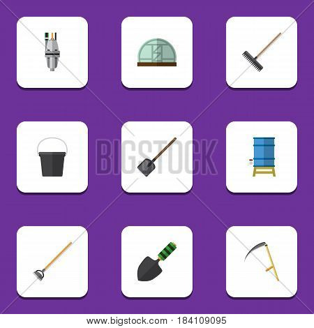 Flat Farm Set Of Harrow, Pail, Trowel And Other Vector Objects. Also Includes Rake, Water, Harrow Elements.