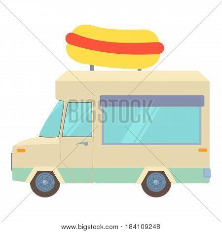 Food truck with hot dog icon. Cartoon illustration of food truck with hot dog vector icon for web