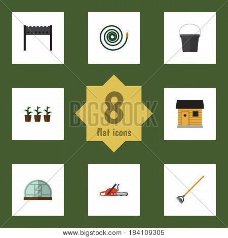 Flat Garden Set Of Hosepipe, Hothouse, Hacksaw And Other Vector Objects. Also Includes Farmhouse, Plant, Hoe Elements.