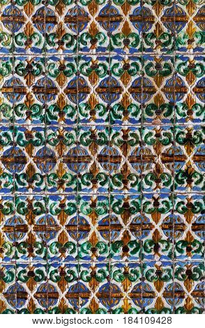 Ceramic tile in Alcazar of Seville Spain