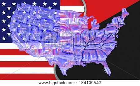 3D illustration. USA flag and an Antifa flag with a see through map of America on top