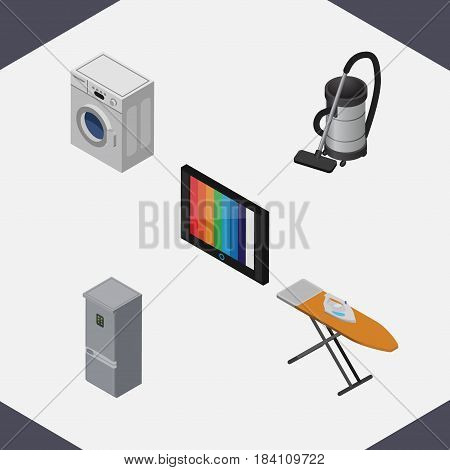 Isometric Technology Set Of Vac, Television, Cloth Iron And Other Vector Objects. Also Includes Cloth, Laundry, Fridge Elements.