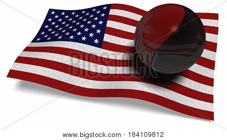 3D illustration. USA flag with an Antifa flag in a ball