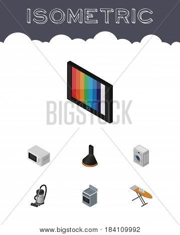 Isometric Appliance Set Of Cloth Iron, Vac, Television And Other Vector Objects. Also Includes Board, Vacuum, Laundry Elements.