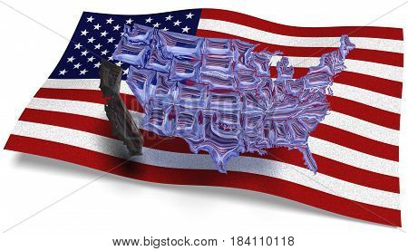 3D illustration. See through map of America against a USA flag and California loose of the rest of America