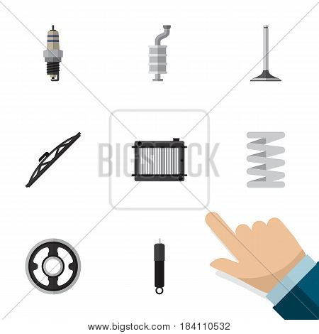 Flat Component Set Of Car Segment, Silencer, Crankshaft And Other Vector Objects. Also Includes Absorber, Plug, Spring Elements.