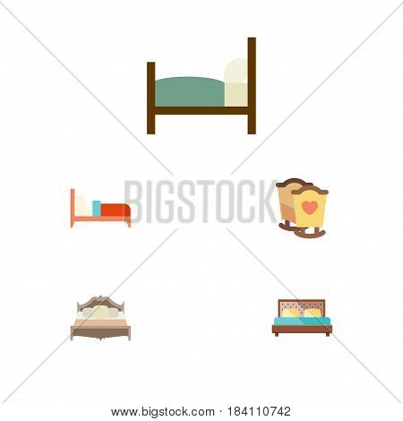 Flat Mattress Set Of Hostel, Bedroom, Bed And Other Vector Objects. Also Includes Child, Hostel, Bearings Elements.