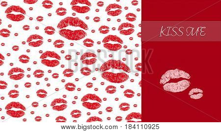 Seamless background red lips on white background. vector illustration eps 10.