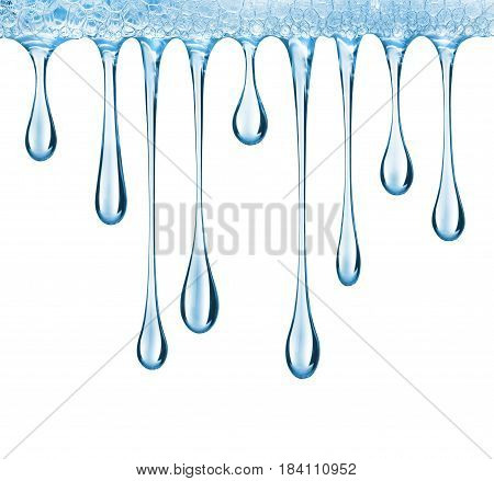 Stretched drops of blue transparent gel isolated on white background