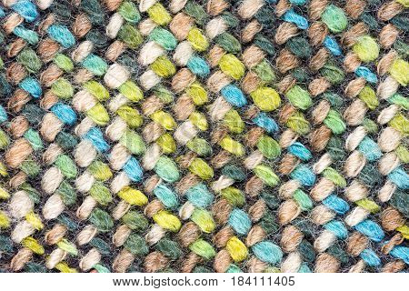 Detailed Close-Up of a multi colored fabric pattern for background purposes