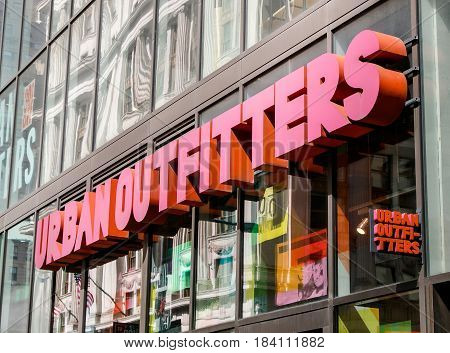 New York April 28 2017: The sign above an Urban Outfitters store in Manhattan.