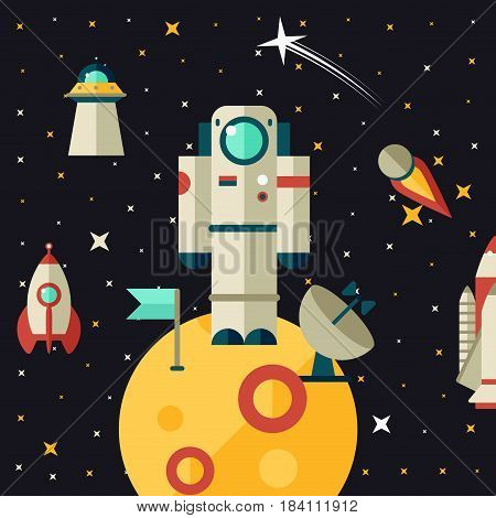 Flat illustration of study and astronaut flying in space. Flight to Mars. The study of the planet s surface