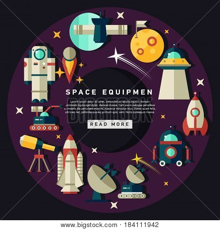 Flat icons with dark background about space equipment vector illustration. Colorful outer space stickers collection