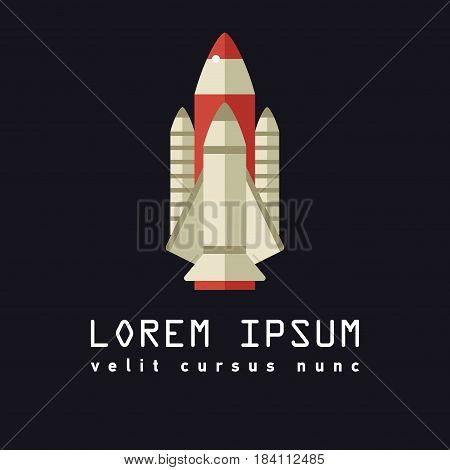 Modern vectorflat design illustration of space shuttle launch