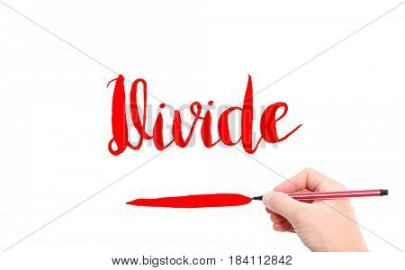 The word of Divide written by hand on a white background