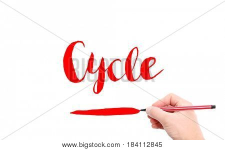 The word of Cycle written by hand on a white background