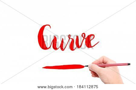 The word of Curve written by hand on a white background