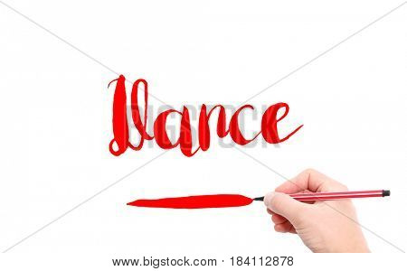The word of Dance written by hand on a white background