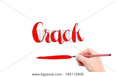 The word of Crack written by hand on a white background