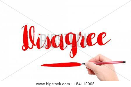 The word of Disagree written by hand on a white background