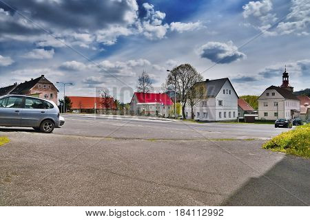 Stvolinky Machuv kraj Czech republic - April 14 2017: route 15 leading around green square in spring afternoon