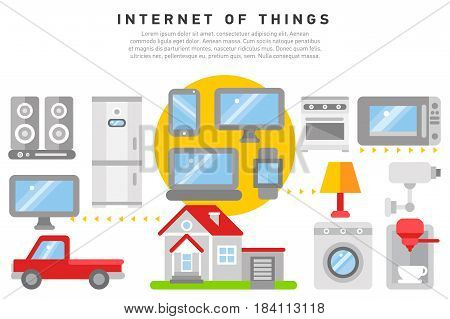 Internet of things iot home household appliances and car control security concept isometric banner abstract vector illustration. Iot home household appliances and car control security