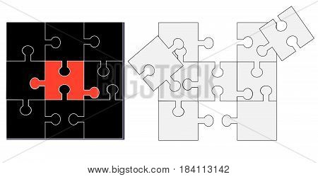 Composed black and unfolded white puzzle as a background
