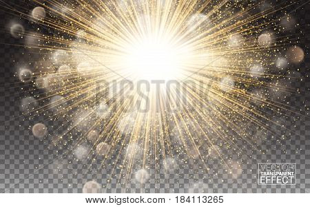 lights effect Bright flare decoration with sparkles. Gold glowing circle light burst explosion Transparent shine gradient glare texture. Vector illustration on transparent background.
