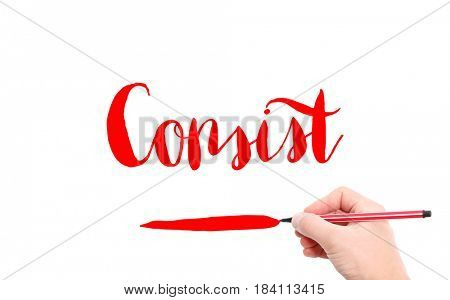 The word of Consist written by hand on a white background